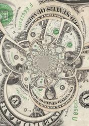 Kaleidoscopic Collage of Dollar Bills