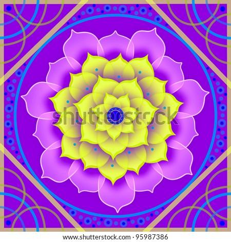 Kaleidoscopic floral pattern, mandala sacred circle