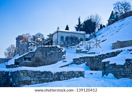 Kalemegdan fortress covered with snow. Fortress is positioned at the confluence of rivers Danube and Sava, at the city of Belgrade, Serbia