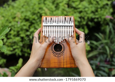 Photo of  Kalimba or mbira is an African musical instrument.Traditional Kalimba made from  wooden board with metal, play on  hands and plucking the tines with the thumbs. Instrument in garden