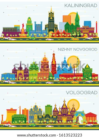 Kaliningrad, Nizhny Novgorod and Volgograd Russia City Skylines with Color Buildings and Blue Sky. Business Travel and Tourism Concept with Historic Architecture. Cityscapes with Landmarks.