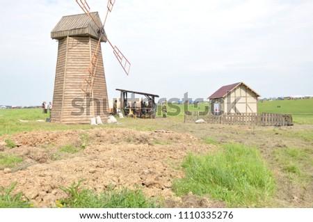 KALININGRAD RUSSIA, 21 AUGUST 2016: Historical reenactment of the Battle of Gumbinnen, World War I, fake village, Kaliningrad region, Russia.