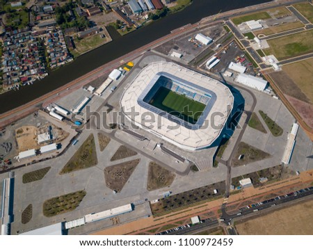 Kaliningrad - Russia, May 20, 2018: Construction of a football stadium for Fifa World Cup 2018 is completed, aerial view #1100972459