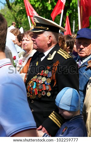 KALININGRAD, RUSSIA - MAY 9: Victory Day. The parade of veterans in honor of 67 anniversary of the victory in World War II  on May 9, 2012 in Kaliningrad. Russia