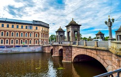 Kalinkin bridge over Fontanka river in Saint Petersburg, Russia