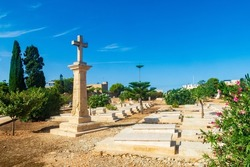 Kalkara, Malta - October 16th 2020: The Capuccini Naval Cemetery also known as Kalkara Naval Cemetery, is the final resting place of over 1,000 casualties from the two World Wars.