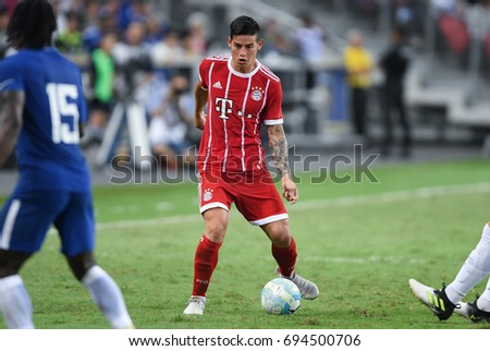 Kallang-SINGAPORE-25jul,2017:Jame rodriguez player of Bayern munich in action during icc 2017 between bayern munich and chelsea at national stadium,singapore