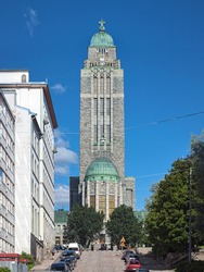Kallio Church in Helsinki, Finland. This Lutheran church in the Kallio district was built in 1908-1912 in the National Romanticism style with Art Nouveau influences.