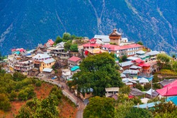 Kalpa and Kinnaur Kailash mountain aerial panoramic view. Kalpa is a small town in the Sutlej river valley, Himachal Pradesh in India