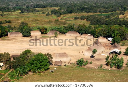 KAMAYURA VILLAGE, BRAZIL - MAY 18: The Kamayura are a threatened Indian tribe of under 400 people living in a single isolated village in Mato Grosso, Brazil, viewed from plane on May 18, 2008.