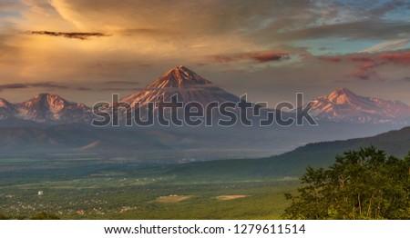 Kamchatka, Koryaksky volcano and Avachinsky volcano at sunset