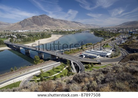 Kamloops - the city with Thompson River, British Columbia, Canada - stock photo