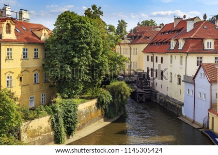 Kampa Island at Certovka River (Devil's Stream) and Water mill in Old Prague, Czechia.