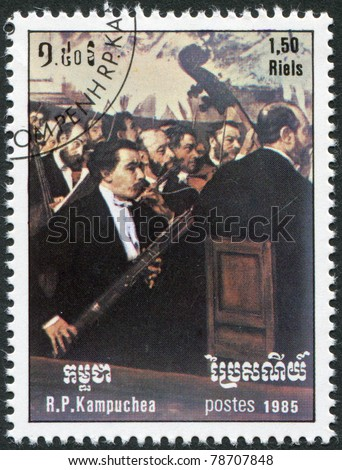 KAMPUCHEA-CIRCA 1985: A stamp printed in the Cambodia, depicts Opera Orchestra, by Degas, circa 1985