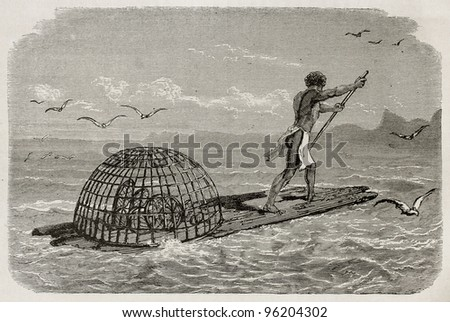 Kanak (New Caledonia native) fishing inside coral reef. Created by Neuville after Garnier, published on Le Tour Du Monde, Paris, 1867