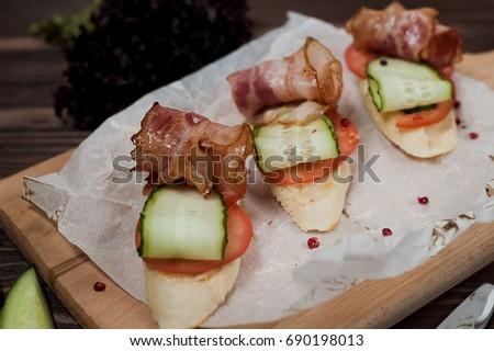 Kanape with bacon Stock fotó ©
