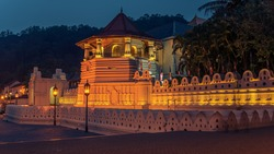 Kandy, Sri Lanka: Buddhist Temple of the Tooth at night also known as Sri Dalada Maligawa or the Temple of the Sacred Tooth Relic