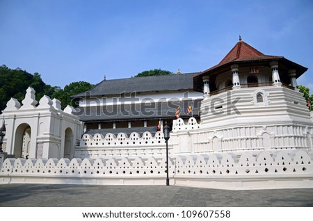 KANDY, SRI LANKA - MAY 21: Temple of the Tooth facade on May 21, 2012 in Kandy, Sri Lanka. Temple of the Tooth is a Buddhist temple that houses the relic of the tooth of Buddha.