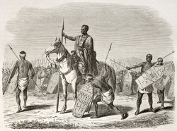 Kanembu leader and warriors old illustration, Chad. Created by Rouargue after Barth, published on Le Tour du Monde, Paris, 1860