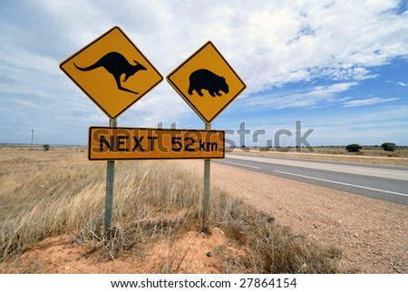 Kangaroo, wombat warning sign at the Nullarbor desert highway in Australia