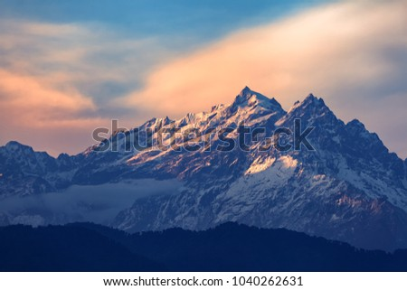 Kangchenjunga close up view from Pelling in Sikkim, India. Kangchenjunga is the third highest mountain in the world. #1040262631