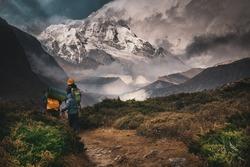 Kangchenjunga, Hiking into the mountain, Goechala Trek in Sikkim, Travel Inspiration, Motivational Image, Trekking in India