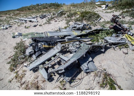 Kangerlussuaq, Greenland - July 13, 2018: Wreck of an American fighter aircraft that crashed in 1968