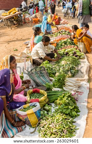 KANHA, INDIA - FEBRUARY 04:  local food market on February, 04 in village of Kanha.