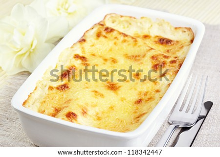 Kannelloni with chicken and mushrooms baked in sauce bechamel