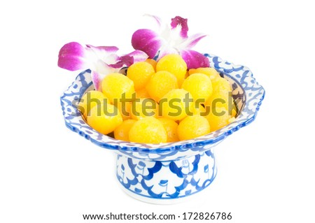 Kanom Thong Yod (gold egg yolks drops) a traditional Thai dessert