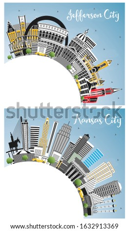 Kansas City and Jefferson City Missouri Skylines with Color Buildings, Blue Sky and Copy Space. Tourism Concept with Historic Architecture. Cityscapes with Landmarks.