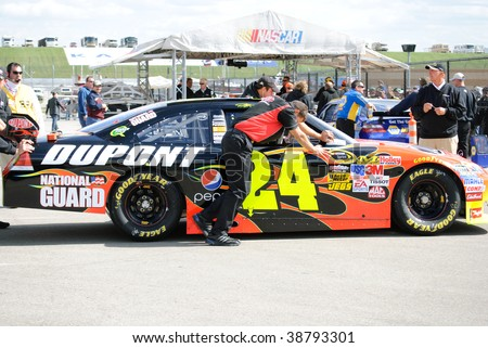 KANSAS CITY, KS - OCT 2:  Nascar driver Jeff Gordon's car is pushed in line for inspection at Kansas Speedway on qualifying day on October 2, 2009 in Kansas City, KS.