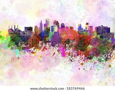 Kansas City skyline in watercolor background
