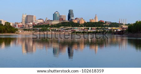 Kansas City skyline panorama. Panoramic image of the Kansas City downtown district.