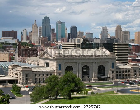 Kansas City skyline with Union Station in the foreground.