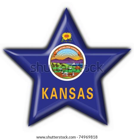 Kansas (USA State) button flag star shape - 3d made