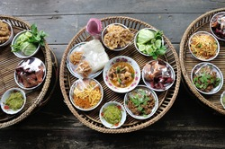 Kantoke, traditionally meal set was popular in North of Thailand, particularly Chiang Mai.
