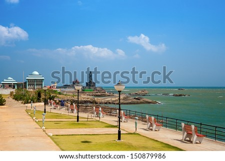 Kanyakumari. The city in the Indian state of Tamil Nadu, located in the most southern point of the Indian subcontinent at Cape Comorin.