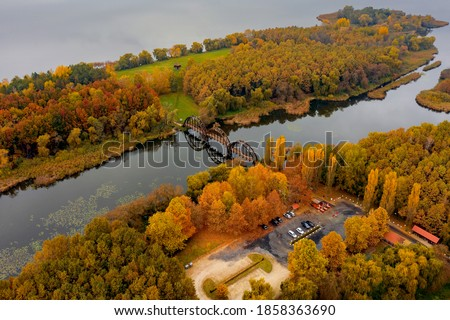 Kanyavar island Little balaton area in Hungary. Famous natural reeved area. Amazing nature and animals lives here. Through an amazing wood bridge you can go to the island. Stock photo ©