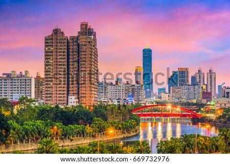 Kaohsiung, Taiwan downtown city skyline on Love River.