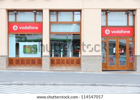 KAPOSVAR HUNGARY AUGUST 11 Vodafone store on August 11 2012 in Kaposvar Hungary Vodafone controls 22.84% of Hungarian mobile phone market 2012
