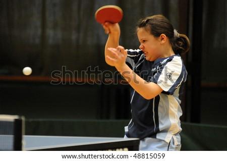 KAPOSVAR, HUNGARY - MARCH 13: Sara Hogye in action at Hungarian National Championship table tennis game Kaposvar vs Beremend March 13, 2010 in Kaposvar, Hungary.