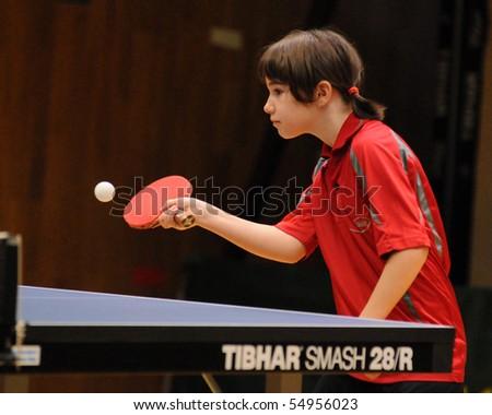KAPOSVAR, HUNGARY - MAY 8: Ottilia Vegh in action at a Hungarian National Championship II. table tennis game Kaposvar vs. Dunaszekcso May 8, 2010 in Kaposvar, Hungary.