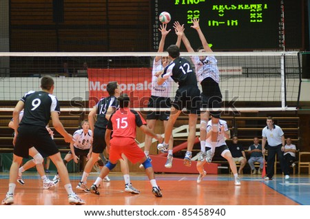 KAPOSVAR HUNGARY SEPTEMBER 21 Unidentified players in action at a Hungarian National Championship volleyball game Kaposvar white vs Kecskemet black September 21 2011 in Kaposvar Hungary