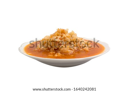 Kapuska meal. Turkish meal. Vegetable meal. In porcelain plate. Studio shoot. Shooting isolated on white background. Shooting from horizontal angle