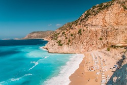 Kaputas beach , Lycia coast on a bright summer day during vacation at Kaputas Beach, Mediterranean Sea, Kas,Turkey