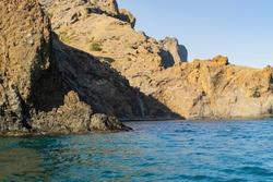 Kara-Dag mountains, view of the rocks from the sea, Crimea, Russia.