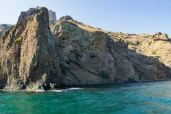 Kara-Dag mountains, view of the rocks from the sea, Crimea, Russia.