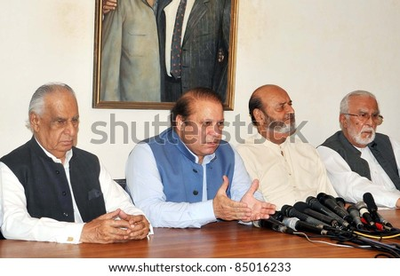 KARACHI, PAKISTAN - SEPT 19: Muslim League-N President, Nawaz Sharif and Sindh National Front (SNF) leader, Mumtaz Bhutto address joint press conference in Karachi, Pakistan on September 19, 2011.