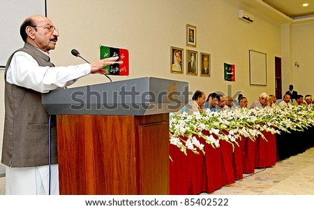 KARACHI, PAKISTAN -SEPT 25: Sindh Chief Minister and Peoples Party Provincial President, Syed Qaim Ali Shah addresses PPP Sindh Council meeting held on September 25, 2011in Karachi.